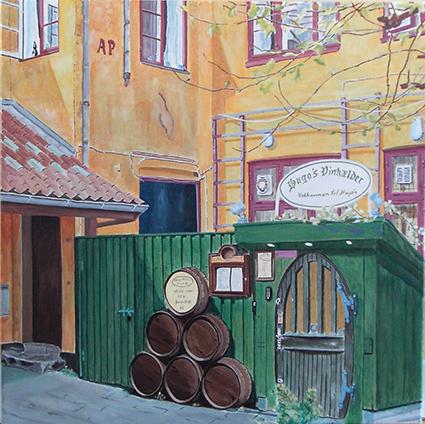 Vivi Kring Hugo´s gård, Køge. Akryl 50x50 cm