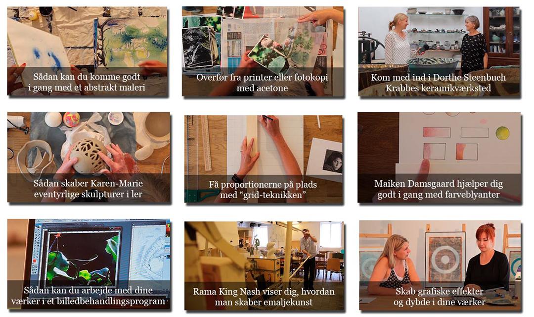 Nogle af de forskellige teknikker du med det samme får adgang til, når du tilmelder dig kunstskolen