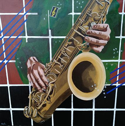 Blues behind bars - værk af Majbritt Biegel