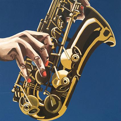 Futuristisk saxofon - værk af Majbritt Biegel