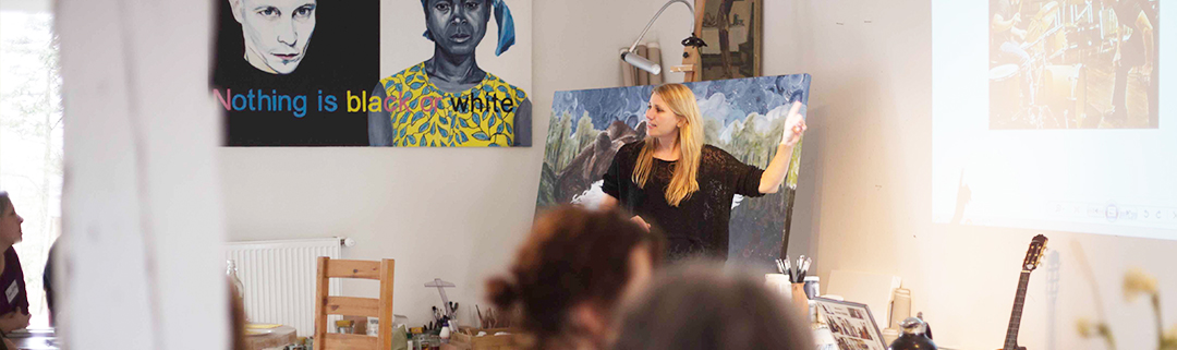 "Foto fra workshoppen ""Kunstner - og hvad så?"" i Anne Juul Christophersens atelier i Randerup, Bredebro"