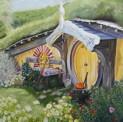 2015 Hobbit-hus olie 55 x 55 cm